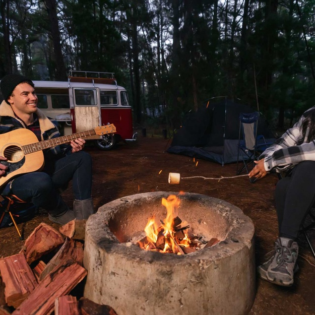 Lane_Poole_Reserve_Camping_Couple_Fire_Campfire_Campervan_Kombie_Marshmallow_Guitar-credit-Josh-Cowling